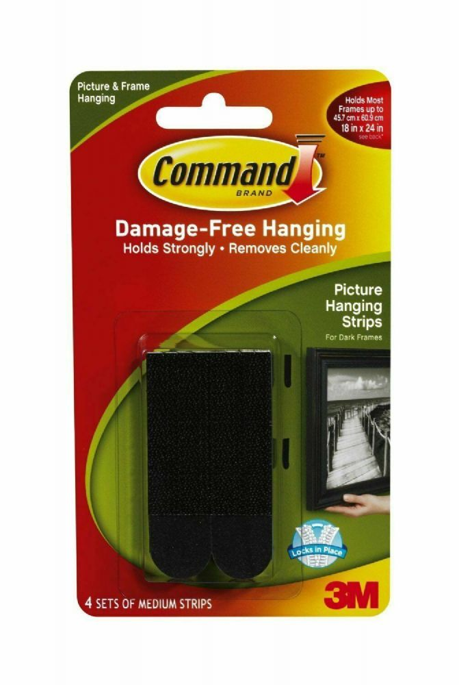 "Command Picture Hanging Strips, 3/4"" x 2 3/4"", Black"
